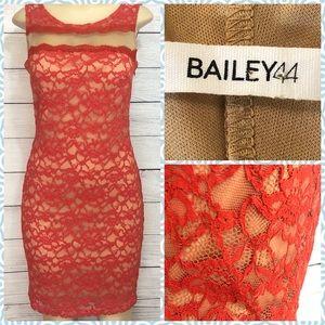 Bailey 44 Burnt Orange Lace Dress w/ Mesh Insert